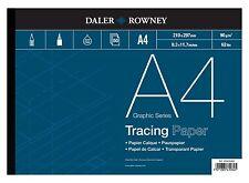 Daler Rowney A4 Papier Calque Coussin 90gsm 28kg 50 Feuilles Qualité Premium