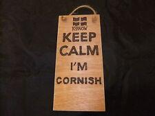 hand created plaque -KEEP CALM I'M CORNISH-Cornwall fun gift Kernow flag on it