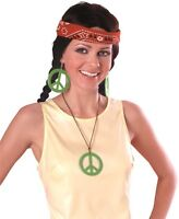 Green Pink Blue or Orange Hippie Earrings Necklace Hippy Costume Accessory NEW