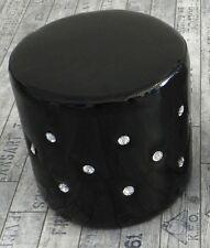 Pouf puff puf sgabello poggiapiedi in ecopelle nero con strass cilindro tondo