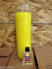7 DAY SPIRITUAL WICCAN VOODOO PRAYER CANDLE YELLOW GLASS JAR 120 HRS  ALTAR OIL