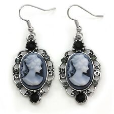 Antique Vintage Style Retro Design Black Blue Dark Grey Cameo Dangle Earrings i1