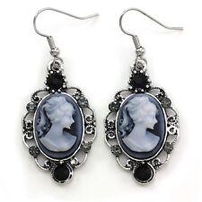 Antique Vintage Style Retro Design Black Blue Dark Grey Cameo Dangle Earrings i1