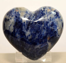 """2.75"""" Sodalite Puffy Heart Blue Natural Crystal Polished Mineral Stone - Africa"""