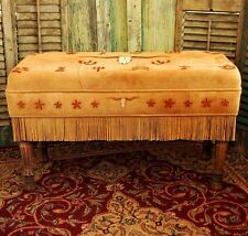 Deerskin Suede Leather LONGHORN, BRANDS Long Padded Bench Handmade Native Style