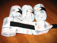New set of 4 coral/mint/black arrows horse polo wraps (horse/pony leg wraps)