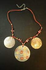 LADIES AZTEC INSPIRED PEACH COLOURED CHUNKY SEA SHELL CERAMIC NECKLACE(CL15)