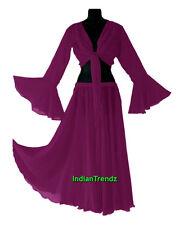 Belly Dance Chiffon Skirt + Top Set Ruffle Tie Gypsy Dress Flamenco Jupe Tribal