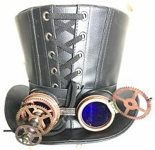 3D Mad Scientists Leather look top hat with  Blue Lens Goggle 60cm