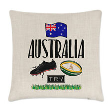 Rugby Australia Linen Cushion Cover Pillow - Funny League Union Flag Sport