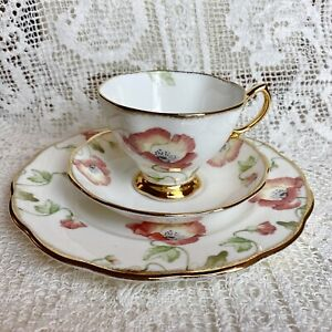 Royal Albert Poppy Teacup Set Cup Saucer Plate Trio 100 Years 70s Boxed Exc Con
