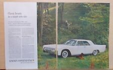 1960 two page magazine ad for Lincoln Continental - 1961 model & Irish Setter