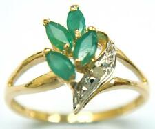NICE 10KT YELLOW GOLD MARQUISE EMERALD & DIAMOND RING   SIZE 7   R1045