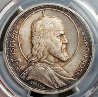 "1938, Hungary. Large Silver 5 Pengö ""St. Stephen"" Coin. Re-Strike! PCGS MS-66!"