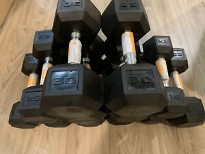 NEW CAP DUMBELL COATED RUBBER HEX PAIR DUMBELL 15LB 25LB 30LB FREE SHIPPING