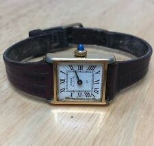 Vintage Anne Klein Lady Gold Tone Roman Rectangle Hand-Winding Analog Watch Hour