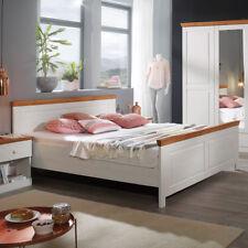 Landhausstil Bett 180x200 Genia Doppelbett Kiefer massiv weiß Honig