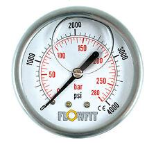 """63mm Glycerine Filled Hyd Pressure Gauge 0-6000 PSI (414 BAR) 1/4"""" BSP REAR Entr"""