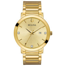 Bulova Men's Quartz Diamond Accents Gold-Tone Bracelet 42mm Watch 97D115