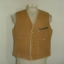 Vintage CARTER'S Watch The Wear SHERPA PILE Lined Duck Canvas VEST USA MADE L