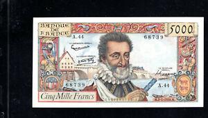 Billet 5000 Francs Henry IV 02/01/58 SUP Fay 49-05