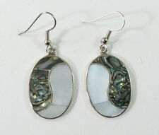 Alpaca silver yin/yang earrings 2-shell inlay surgical steel ear wires