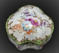 ANTIQUE HAND PAINTED NIPPON JAPAN TRINKET BOX FLORAL GOLD