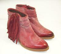 CIRCLE G By CORRAL Womens Distressed Red Leather Fringed Fashion Booties 9 M