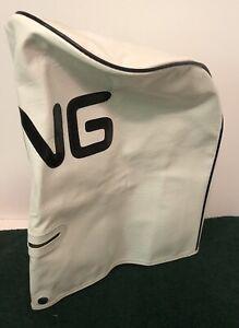"Vintage PING Golf Cart Bag RAIN HOOD ONLY White & Black Vinyl 9"" Diameter minty"