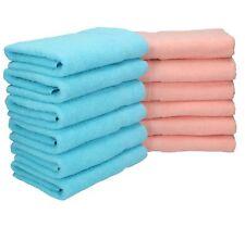 Lot de 12 serviettes Palermo couleur turquoise et abricot, qualité 360 g/m², 12
