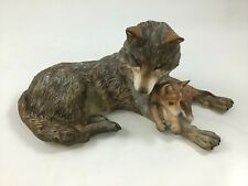 Nicholas Wilson Woodland Repose Wolf & Cub Figurine Issued By National Wild Fed