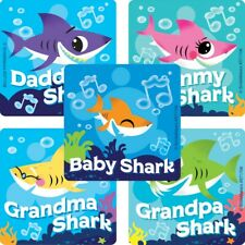 20 Baby Shark STICKERS Party Favors Supplies Birthday Treat Loot Bags