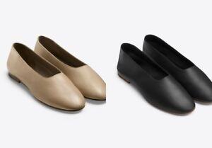 NIB Vince Maxwell Leather Ballet Flat Glove Shoes, Sand & Black $225