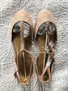 New With Tags Torrid Women's Taupe Braided T-Strap Flat Size 9W