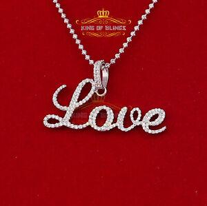10K White Gold Finish 'LOVE' Silver Pendant W/Lab Created Diamonds