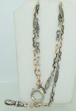 Watch Chain Necklace Antique Niello 900 Silver