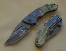 ELK RIDGE CAMO SPRING ASSISTED KNIFE **RAZOR SHARP** BLADE WITH POCKET CLIP
