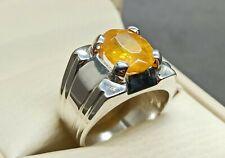 Round Cut Natural Pukhraj Sterling Silver 925 Handmade Yellow Sapphire Mens Ring