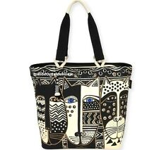 Laurel Burch Wild Cats LARGE Shoulder Tote Bag Black White New