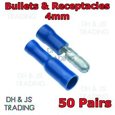 50 x Pairs Blue Bullet Insulated Crimp Terminal Connectors Receptacle & Bullet