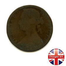 Un bronzo Britannica 1876 H Victoria PENNY COIN (Heaton) (Ref:1876_21/22)