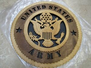 US ARMY Wood Comemorative Plaque Tribute Laser Cut Wood 11 1/2IN Round Wall Sign