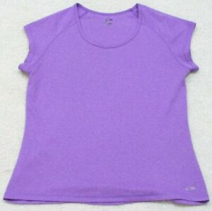 Champion Duo Dry Short Sleeve Crewneck Polyester Purple Tee T-Shirt Top Large