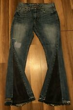 Mens Bell Bottom Patched Denim Pants Distresed Jeans VTG Hippie Upcycled 31X32