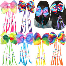 6 Pcs 8 inch Big Hair Bows Elastic HairBands Pigtail Holders for Girls Toddlers