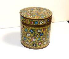 RARE OLD MILLEFLEUR CLOISONNE ENAMEL HUMIDOR CANISTER JAR BOX