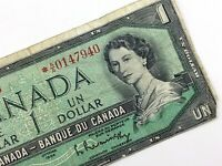 1954 Canada 1 One Dollar Replacement AA Prefix Circulated Canadian Banknote M466