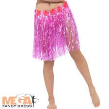 Pink Hawaiian Hula Skirt Flowers Adjustable Ladies Adult Fancy Dress Costume