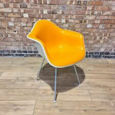 Orange Yellow Vinyl Herman Miller Original Vintage Eames DAX Dining Arm Chair