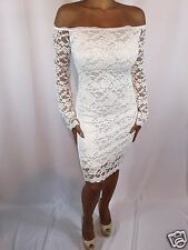 Elegant Stretch White Lace Long Sleeve  Off Shoulder Evening Cocktail Small